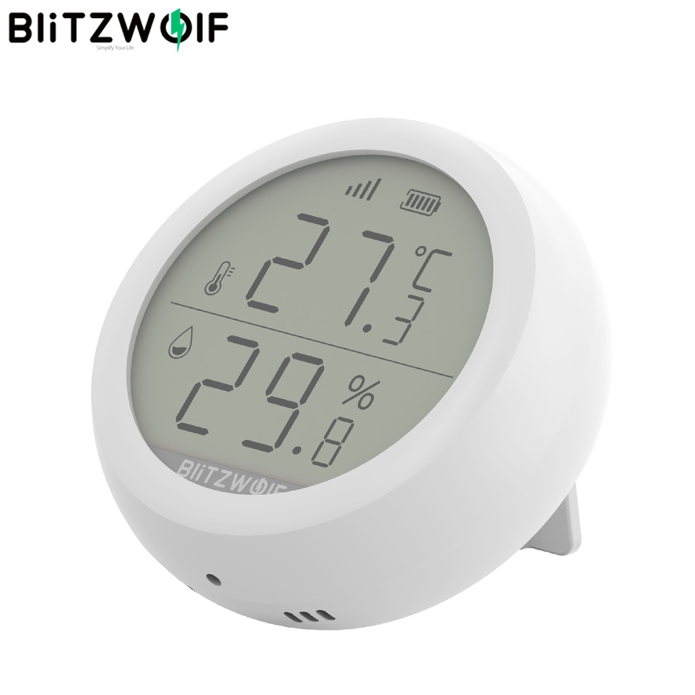 BlitzWolf ZigBee Wireless Connection LCD Screen Smart Home 50m  Detection Temperature and Humidity Sensor Thermometer HygrometerSmart  Remote Control