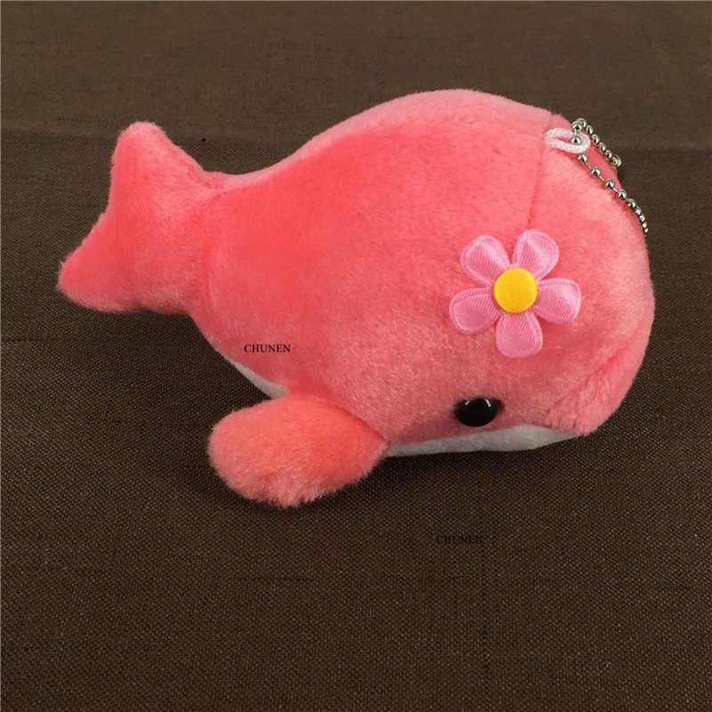 חמוד 4 צבעים-מפתח שרשרת דולפין בובת; 13cm אוקיינוס בעלי החיים בפלאש ממולא צעצוע בובה