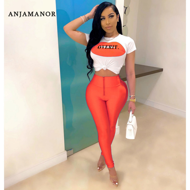 ANJAMANOR Lip Letter Print Neon Sexy Two Piece Set Women Summer 2020 Clubwear Fashion Outfits Plus Size Matching Sets D29-AF57