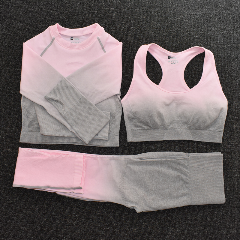 3pcsPink - Women's Sportwear Seamless Fitness Gradient Yoga Set