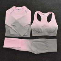 3pcsPink - Women's Sportwear Seamless Fitness Gradient Yoga Set
