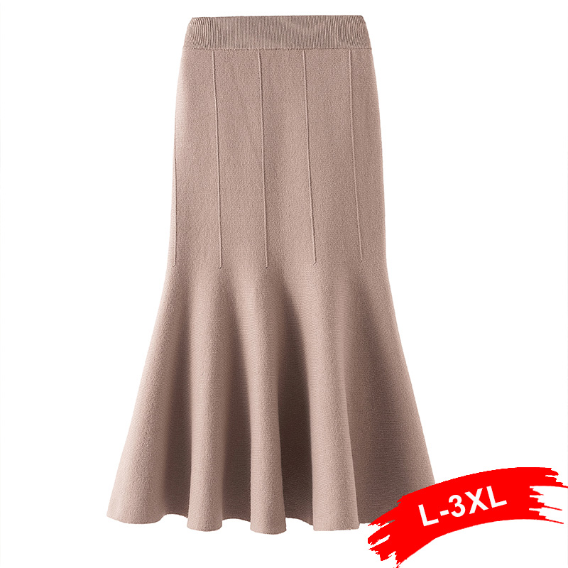 Plus Size Women High Waist Solid Mermaid Knitted Skirts 3xl Spring Autumn Elegant Streetwear Maxi Skirts For Womans Saias Femme
