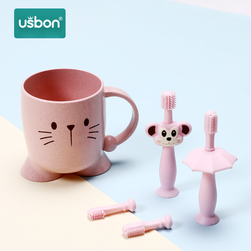Usbon Toothbrush Child Soft-Silicone Bristle Teether Training Dental Oral Care Baby Kids Tooth Brush + Cup + 2 Replace head