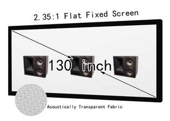 HD 130inch 2.35:1 Acoustic Transparent Projector Screen Black Velvet Fixed Frame For Hifi Cinema AT Screens