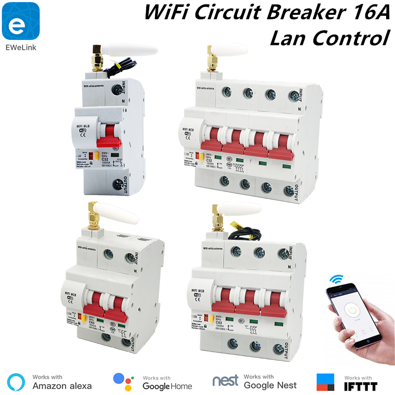 EWeLink 16A disjoncteur WiFi intelligent Protection contre les courts-circuits Alexa Echo Google maison Compatible télécommande WiFi interrupteur