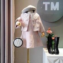 Kids Girls Boutique Outfits Princess Costume Sleeveless Lace Elegant Dress + Tweed
