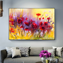 Abstract Poppy Flower Canvas Paintings On The Wall Modern Red Flowers Pop Art Canvas Prints Wall Pictures For Living Room Decor