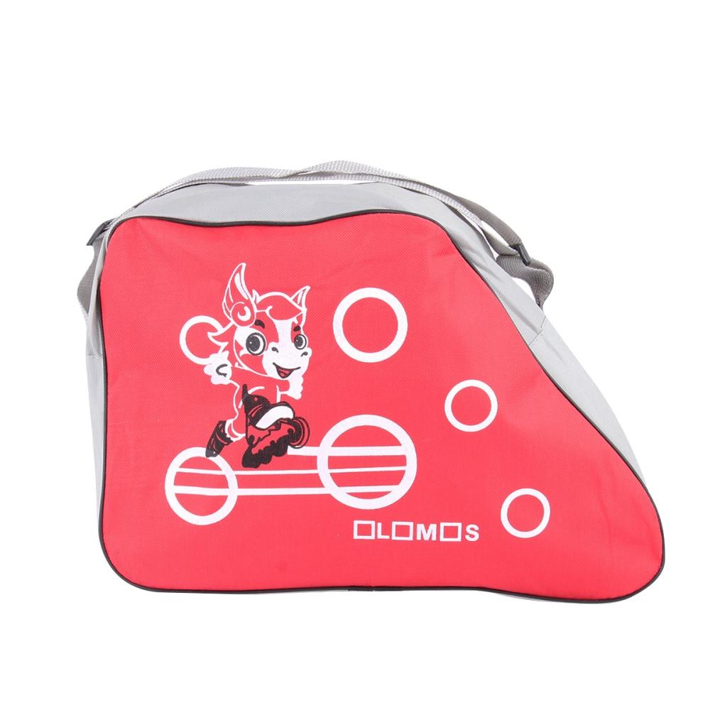 Fashionable Printed Portable Skating Shoes Storage Bag Adjustable Shoulder Strap Storage Organizer Roller Skate Storage Bag (Red