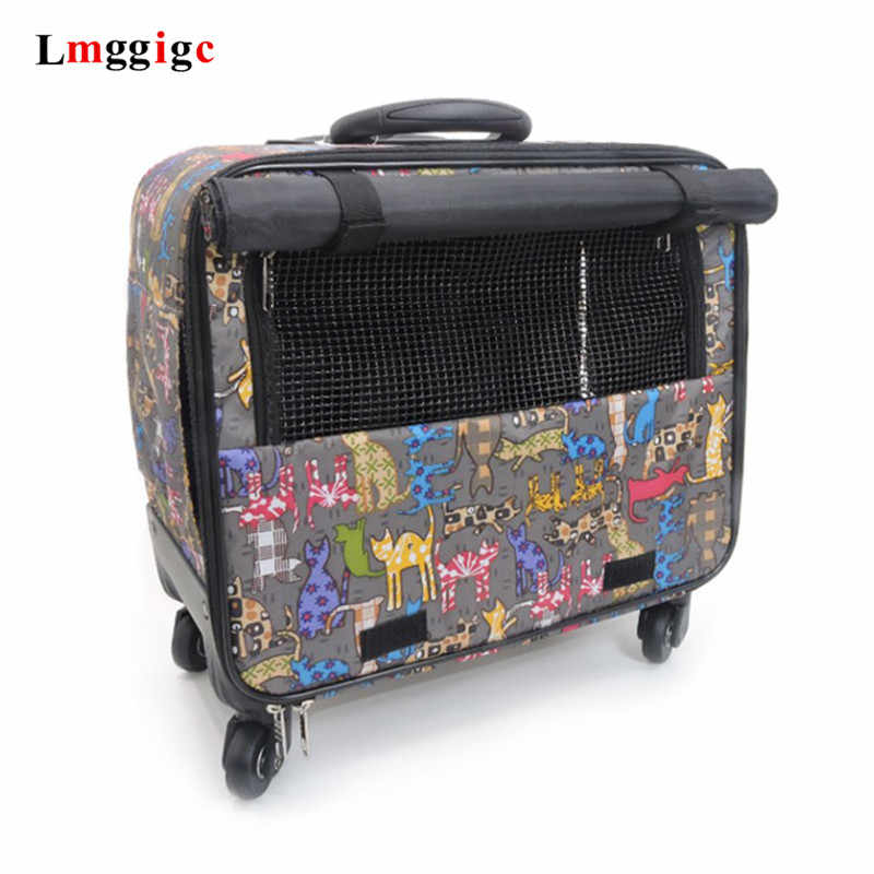 Pets carry-on trolley case,Small animal universal wheel Luggage,Cat and dog outdoor rolling suitcase,Breathable pet house,