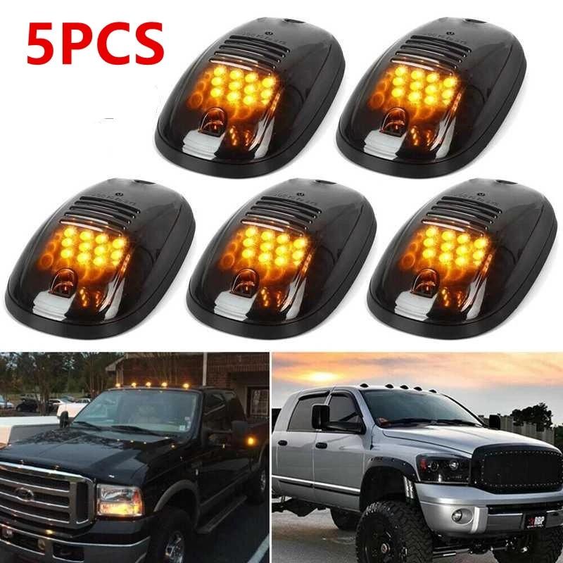 Gaoominy 5Pcs 12-LED Car Cab Roof Marker Lights for Truck SUV LED 12V Black Smoked Lens Lamp Car External Lights