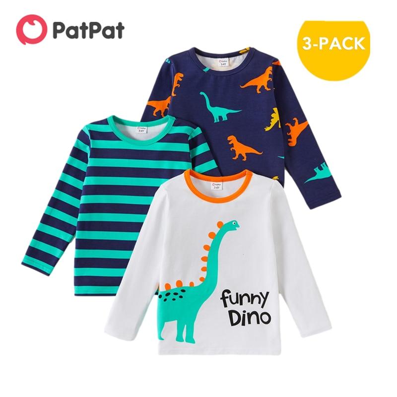 PatPat Новое поступление 2021 весна и осень из 3 предметов для малышей с динозавром в полоску; Футболка с длинным рукавом, детская одежда|Футболки| | АлиЭкспресс