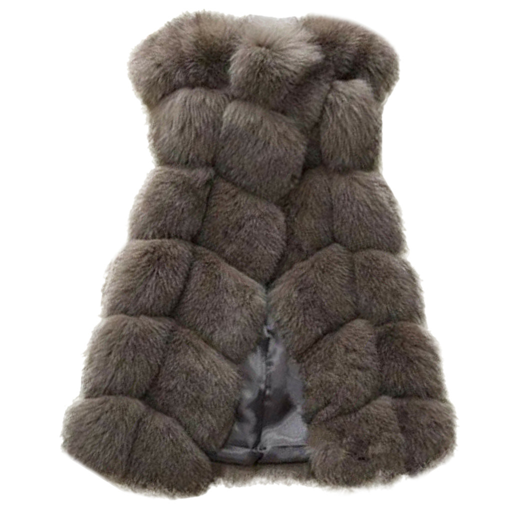 Womens Faux Fur Gilet Vest Sleeveless Waistcoat Body Warmer Jacket Coat Outwear Woman Warm Fake Fox Fur Coats Female Futro 10.3
