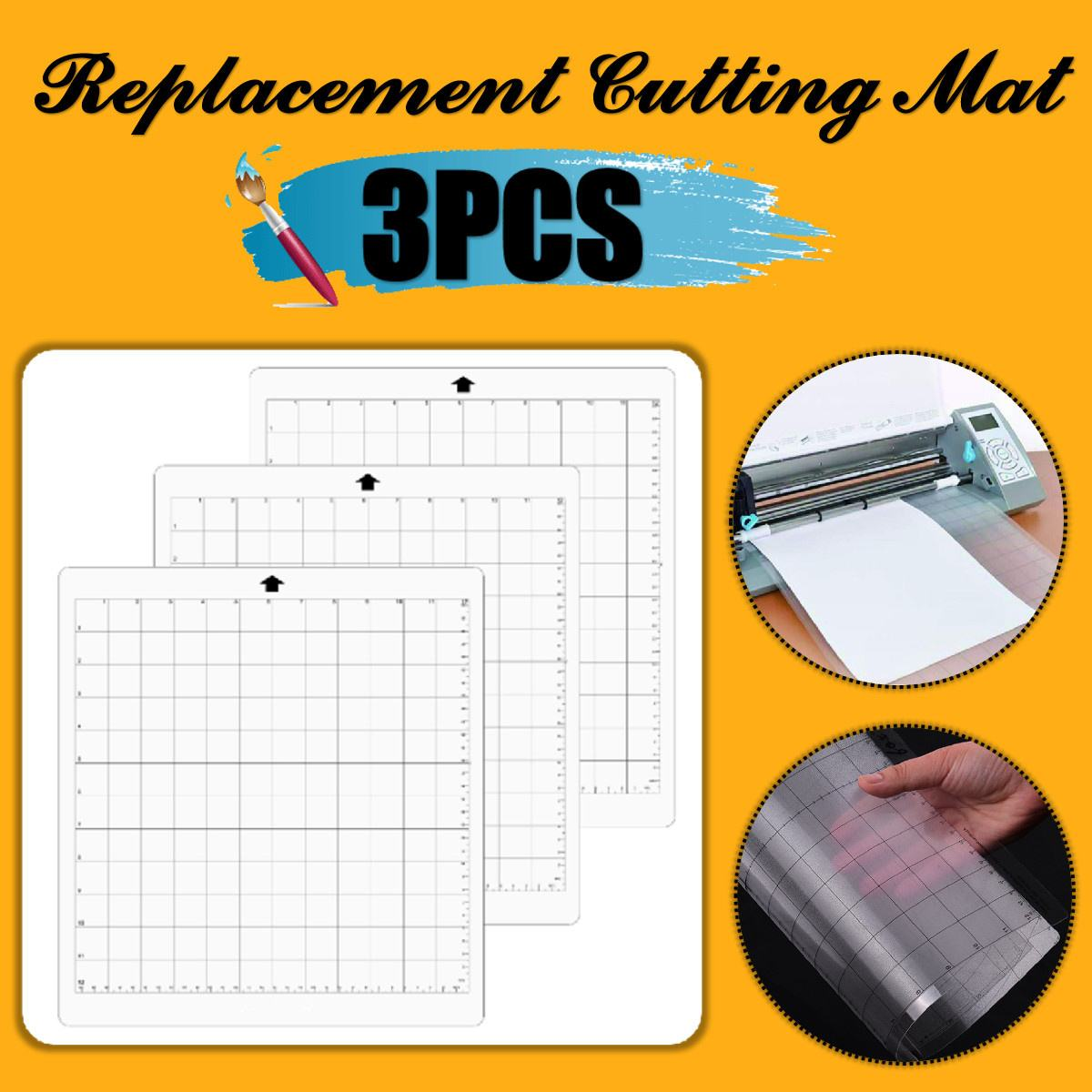 6PCS Replacement Cutting Mat Transparent Adhesive Mat Pad With Measuring Grid 12 By 12-Inch For Silhouette Cameo Plotter Machine