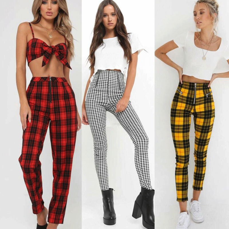 2019 New Women High Waist Tartan Trousers Ladies Ripped Skinny Long Pencil Pants