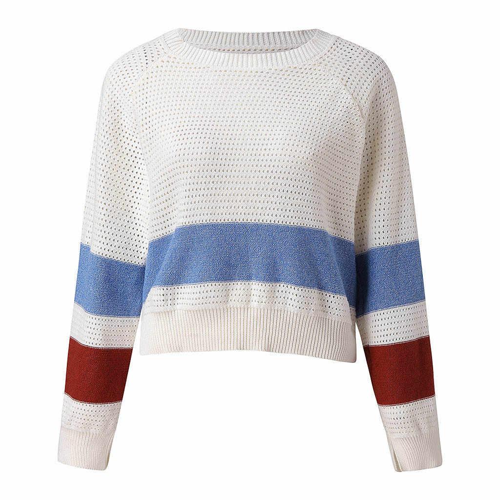 2019 Autumn Women Short Sweaters Striped High Street Crop Tops Thin Knitted Pullovers Women Streetwear Elasticity Knitwear #60