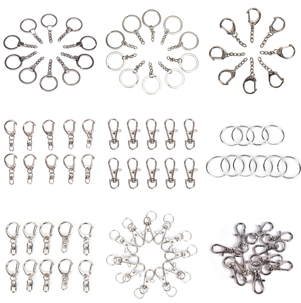 10pcs   Metal Swivel Lobster Clasp Clips Key Hook Keychain Split Key Ring Findings Clasps For Keychains Making