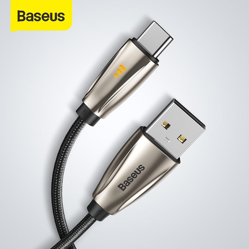 Baseus USB Type C Cable for Samsun S9 S10 Quick Charge 3.0 USB C Cable for Xiaomi Redmi Note 8 Pro LED USB Type USB C Wire Cord|Mobile Phone Cables|   - AliExpress