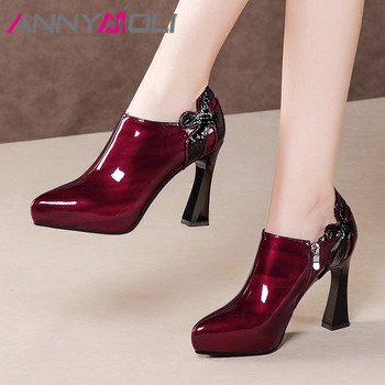ANNYMOLI High Heels Women Pumps Natural Genuine Leather Super High Heels Party Shoes Patent Leather Zipper Shoes Ladies Size 39