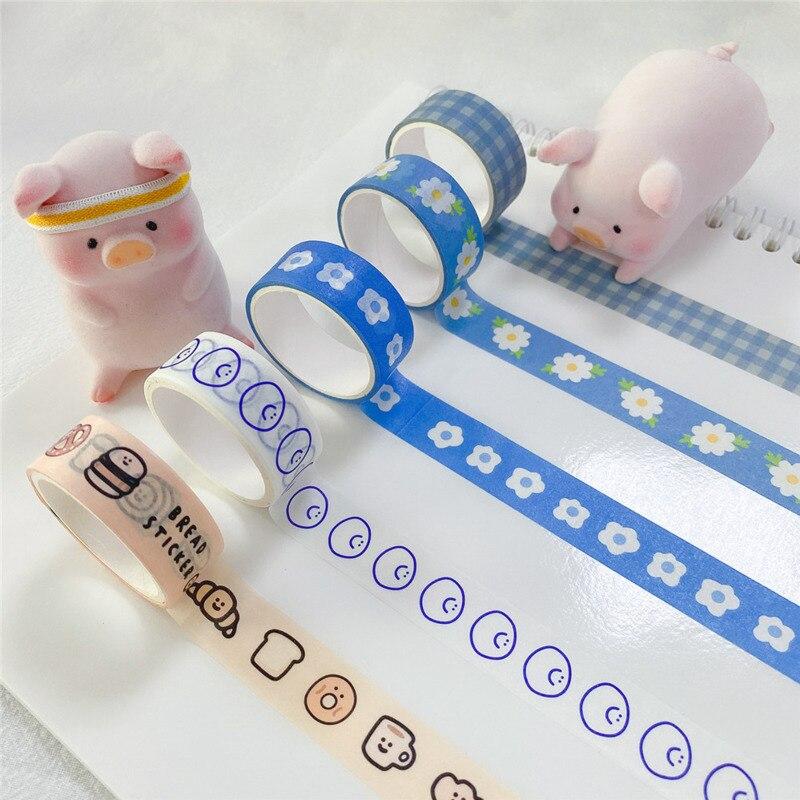 Blue Grid Daisy Smiling Face Cute Washi Adhesive Tape Student Stationery Diy Masking Decorative Tapes 3m Kawaii Sealing Sticker