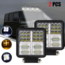 SUHU 2Pcs 4inch 177W LED Square Work Light 7800LM White Amber Spot Flood Lights Bar for Truck SUV Boat Off Road Car Accessories