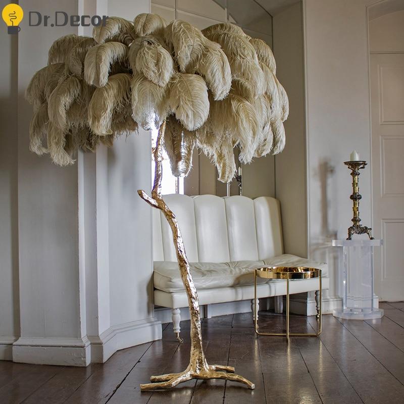 Nórdicos de lujo pluma de avestruz lámpara LED de pie de cobre/latón resina Luz de suelo Art Deco para sala de luz