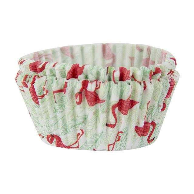 Red Flamingo Printed Cupcakes Baking Bowl Set 40 Pcs