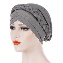 Elastic Solid Braid Turban Head Wraps For Women Muslim Cross Bonnet Hijab Turban Caps Female Stretchy Chemo Beanie Hat India Cap