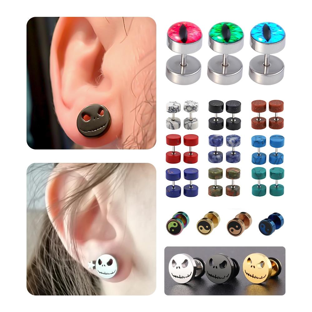 16x Stud Earrings Barbell Studs Stainless Steel Plugs Body Unisex Jewellery
