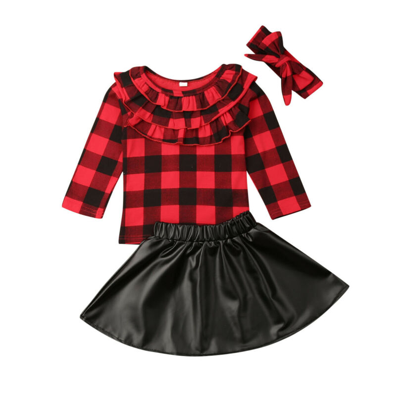 1-6Years Christmas Toddler Kid Girls Clothes Set Long Sleeve Ruffles Red Plaid T shirt +Bow Pu Leather Skirts Xmas Girl Costumes