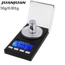50 г x 0,001 г Мини цифровые весы Высокая точность Карманные весы ювелирные весы лекарство грамм вес для кухни взвешивания инструмент скидка 39