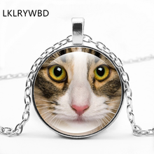 LKLRYWBD / Retro Cat Face Round Glass Necklace Pendant Jewelry
