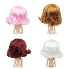 Blyth boneca gelo peruca apenas rbl couro cabeludo e cúpula, curto ondulado cabelo brinquedo couro cabeludo para diy boneca personalizada