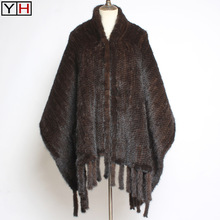 Shawl Scarf Ponchos Mink-Fur Luxury Winter Fashion 100%Natural Lady Authentic Real