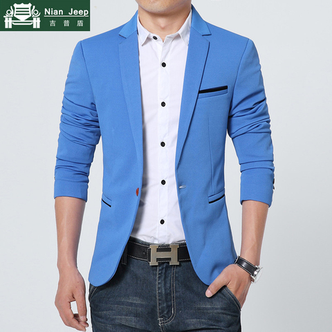 Plus Size 2019 Spring Autumn Luxury Men Blazer Fashion Casual Business Cotton Slim Fit Suit Jacket Male Blazer Masculino M-5XL Pakistan