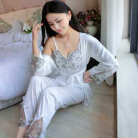 Summer Soft Silk 3 Set Lace Pajama Set Women Sexy Sleepwear Satin Transparent 3 Piece Nightwear Spaghetti Strap Tops For Ladies