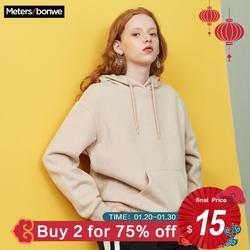 METERSBONWE новые осенние зимние женские свитшоты Одежда корейский Свободный пуловер