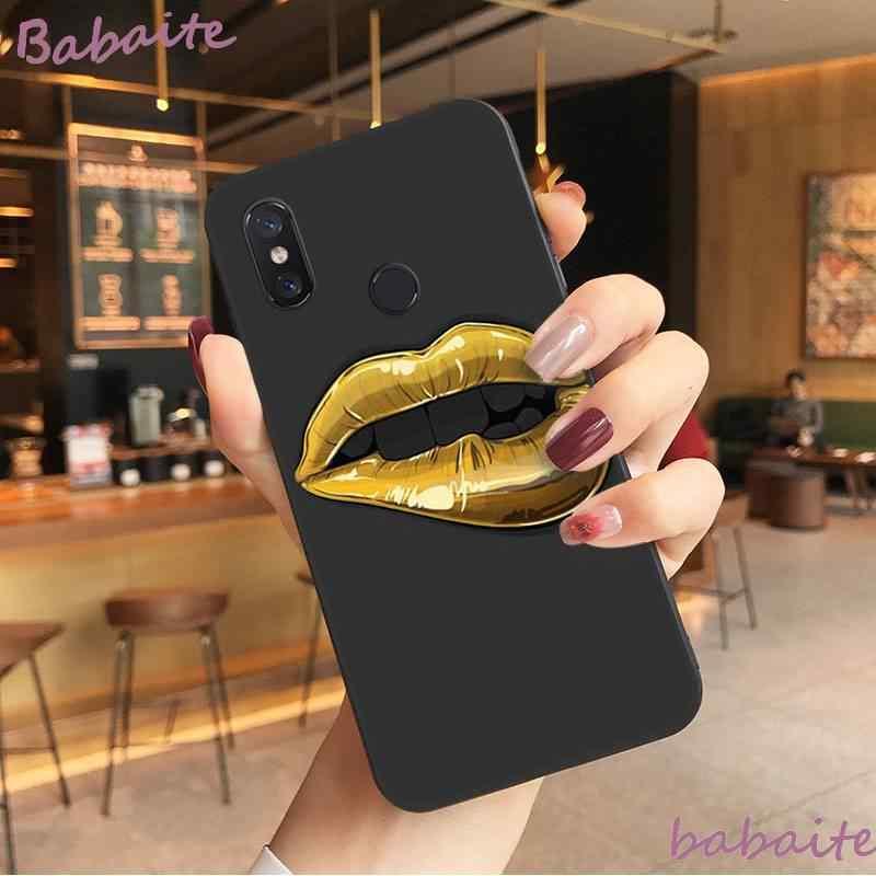 Babaite Gadis Seksi Bibir Merah DIY Cetak Gambar Ponsel Case untuk Xiaomi Mi 6 Plus A2 8 Lite 8 8SE 9 9SE MIX2 Cover