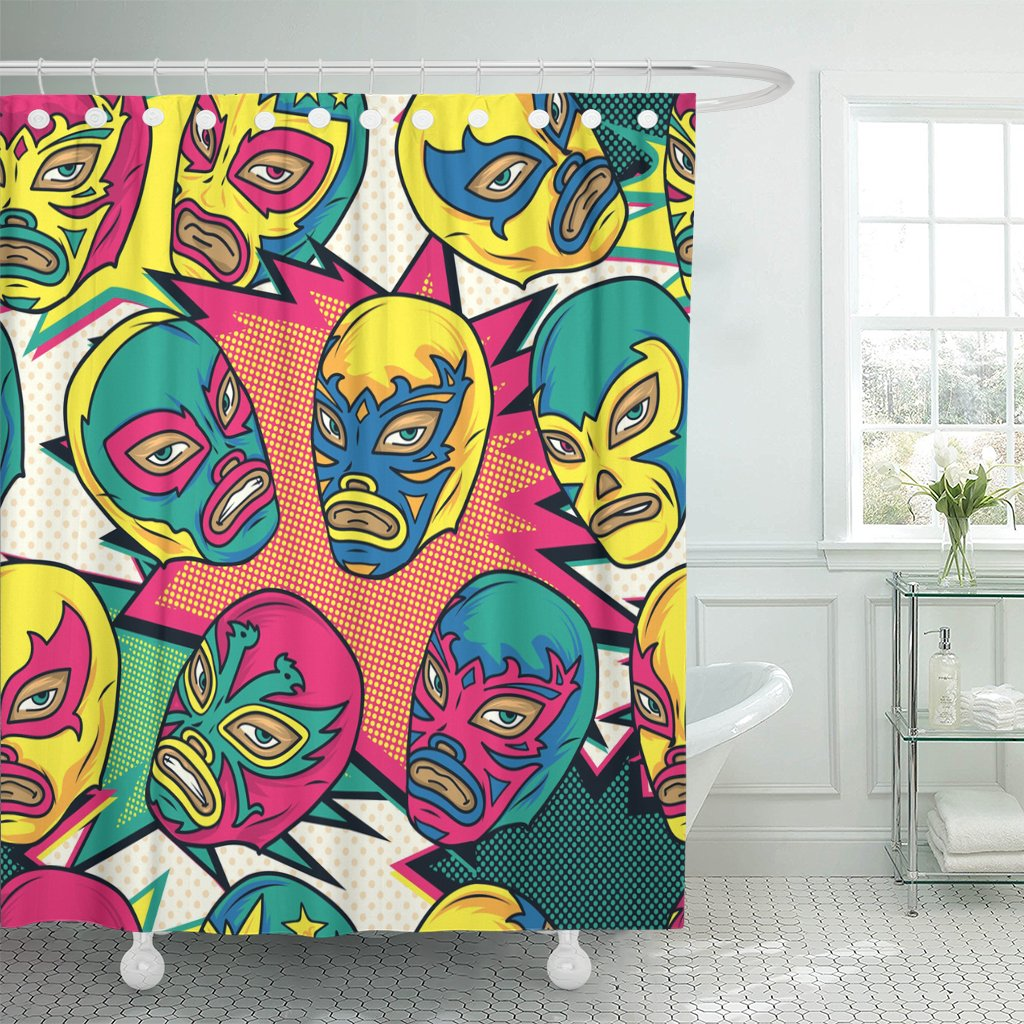 pattern colorful mexican wrestler luchador color pop wrestling latin shower curtains waterproof polyester fabric 60 x 72 inches