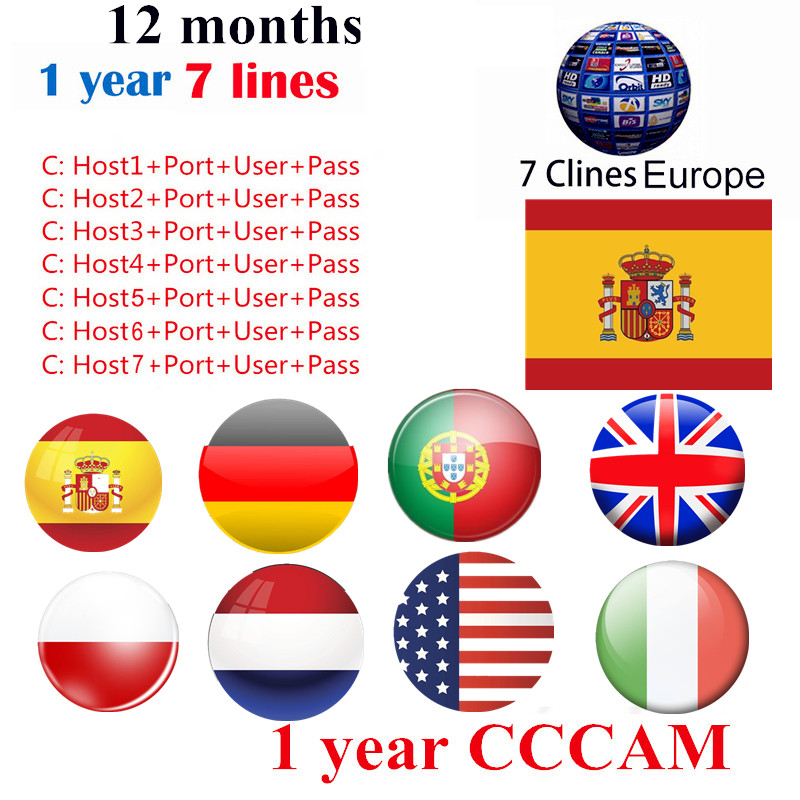 1 Year Cline <font><b>CCcam</b></font> 3 /7 Line Server for Europe Spain <font><b>Satellite</b></font> <font><b>TV</b></font> <font><b>Receiver</b></font> For <font><b>DVB</b></font> <font><b>S2</b></font> set top <font><b>BOX</b></font> FREESAT V7S HD V8 NOVA Recept image