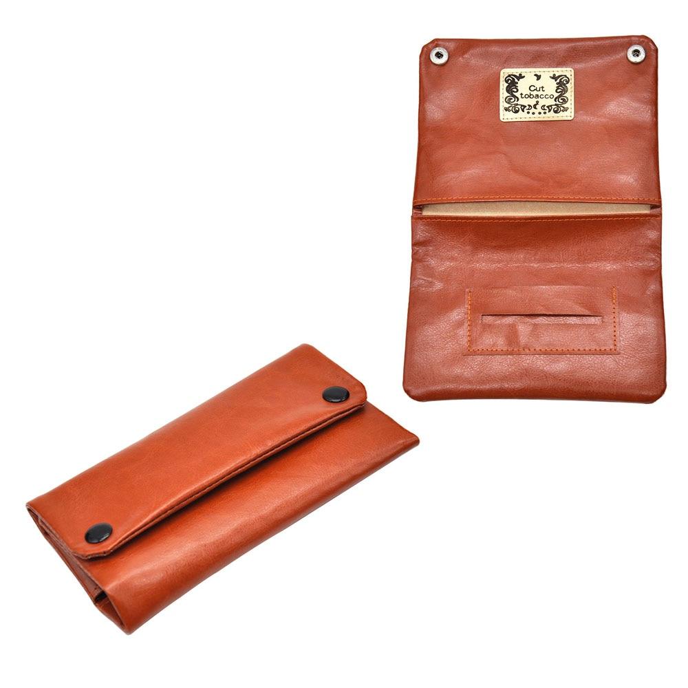 PU cigarette Tobacco bag 152MM paper holder tobacco cigarette bag tri-fold with dark buckle leather cigarette case Purse bag