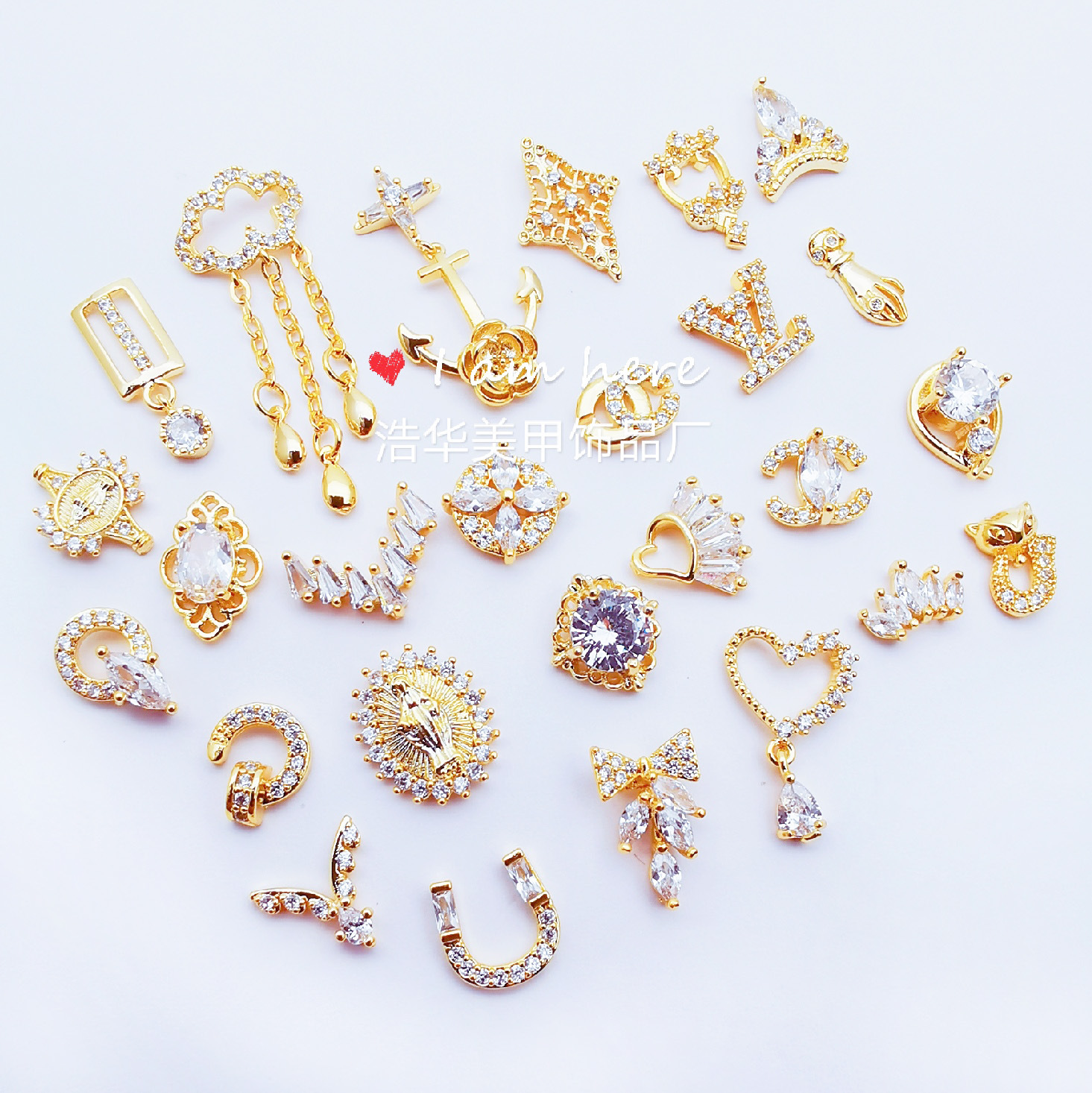 Nail Rhinestone New Products Taobao Hot Sales Nail Ornament Alloy Nail Sticker Big Brand Real Gold Maintains Color Electroplated