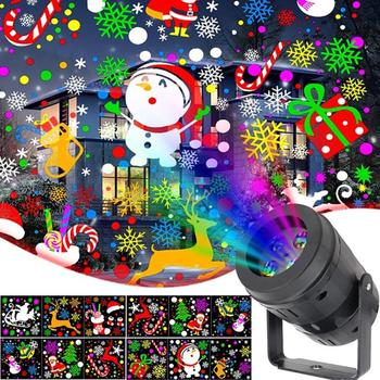 Christmas Decor LED Projector Light 12/20 Patterns Disco Stage Light Laser Snowflake Santa Claus Projection Outdoor Waterproof