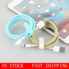 Nowa lina sprężynowa sznurka ochrona kabla ochrona kabla ochrona linii danych kabel pokrywa ładowarki dla IPhone Android Dataline tanie tanio CN (pochodzenie) Z tworzywa sztucznego Data line protector length 140 cm Cable Winder dropshipping
