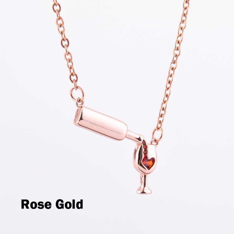 Collar de moda para mujeres niñas copa de vino colgante cadena accesorios para el cuello decoración KQS8