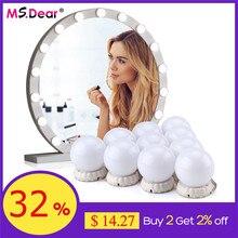 Bombillas LED para espejo de maquillaje, 10 Uds., lámpara de espejo de tocador para maquillaje, lámpara de pared Hollywood regulable, espejos cosméticos para tocador