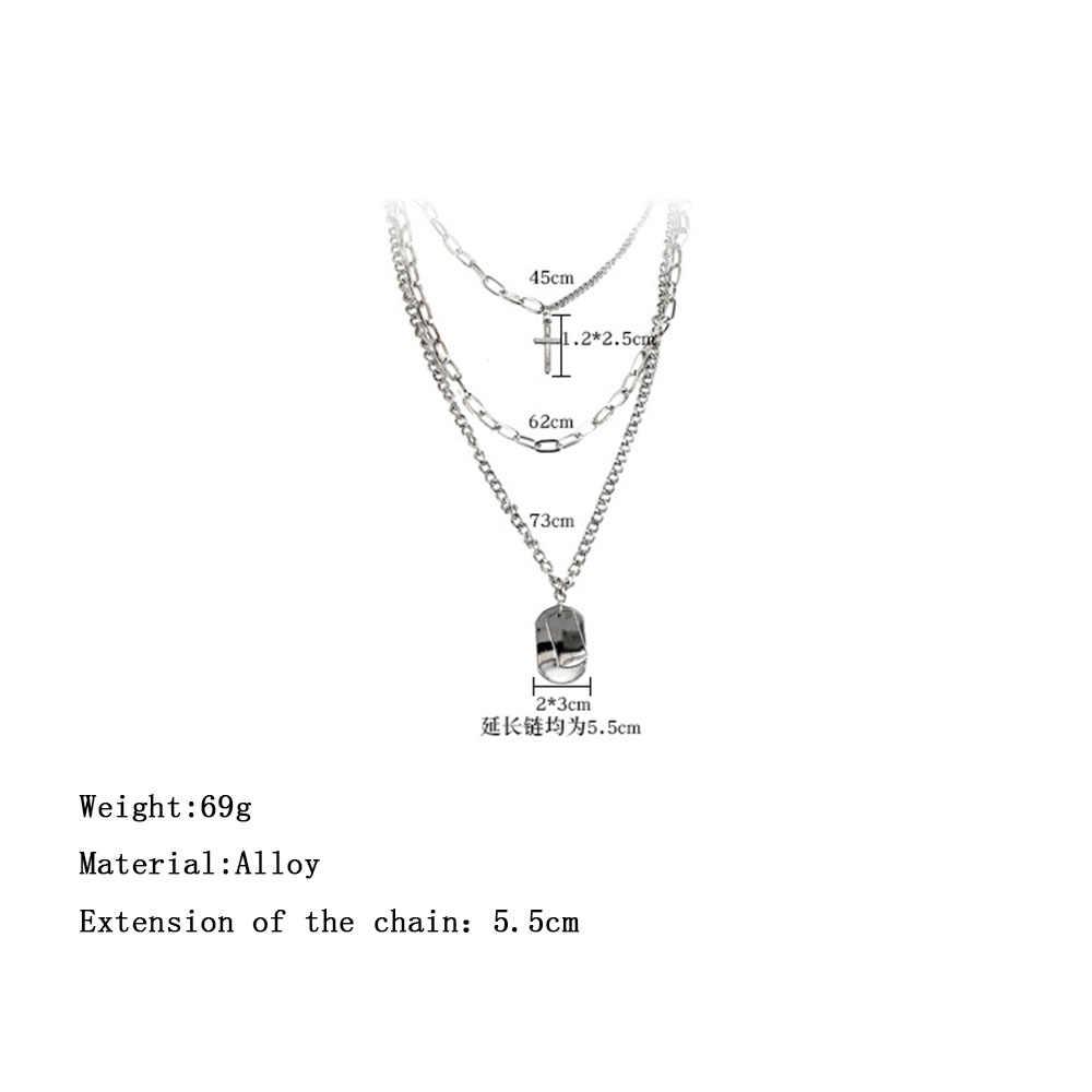 Nowa osobowość krzyż kwadratowy wisiorek naszyjnik metalowy wielowarstwowy Hip hop długi łańcuszek fajny prosty naszyjnik kobiety Party biżuteria