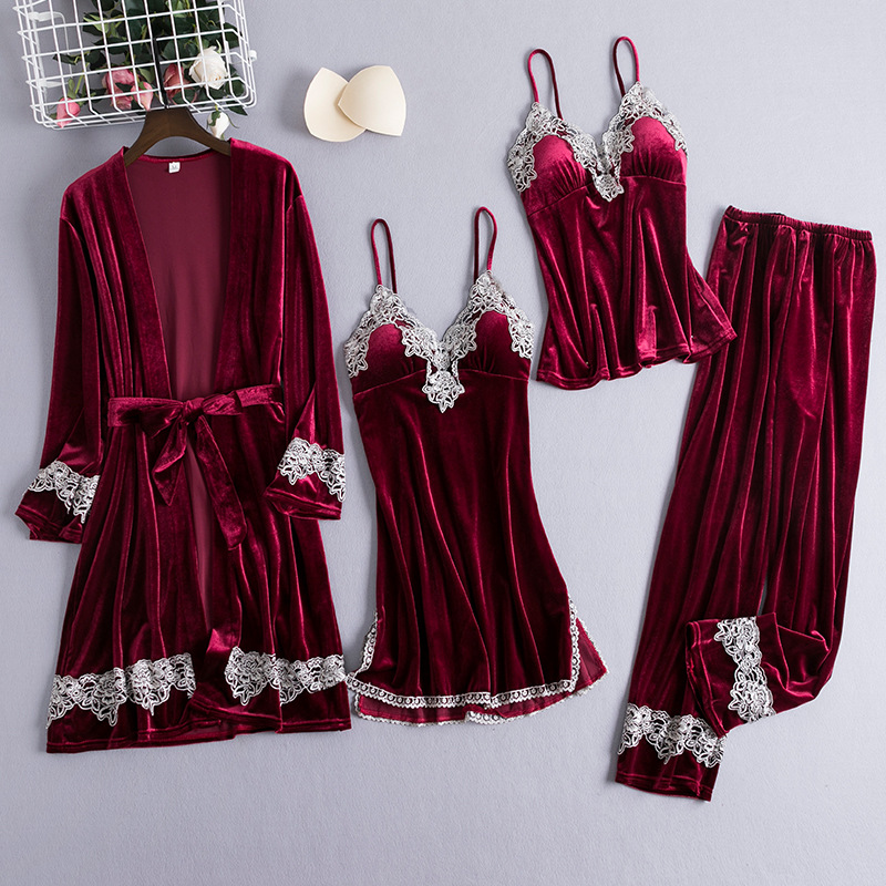 Daeyard Velvet Pajamas Sets For Women Sexy Lace Nightdress Long Robe Suit Sleepwear Autumn Winter Warm 4 Pieces Pyjamas Nightwear Embroidery Cami Pants Elegant Home Clothes With Chest Pads Casual Outwear