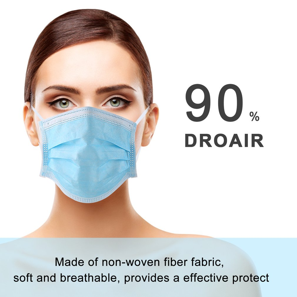 Dustproof and anti-smog Disposable three-layer mask 100 units antifouling mask dust mask mask mask blue box of 50 pieces