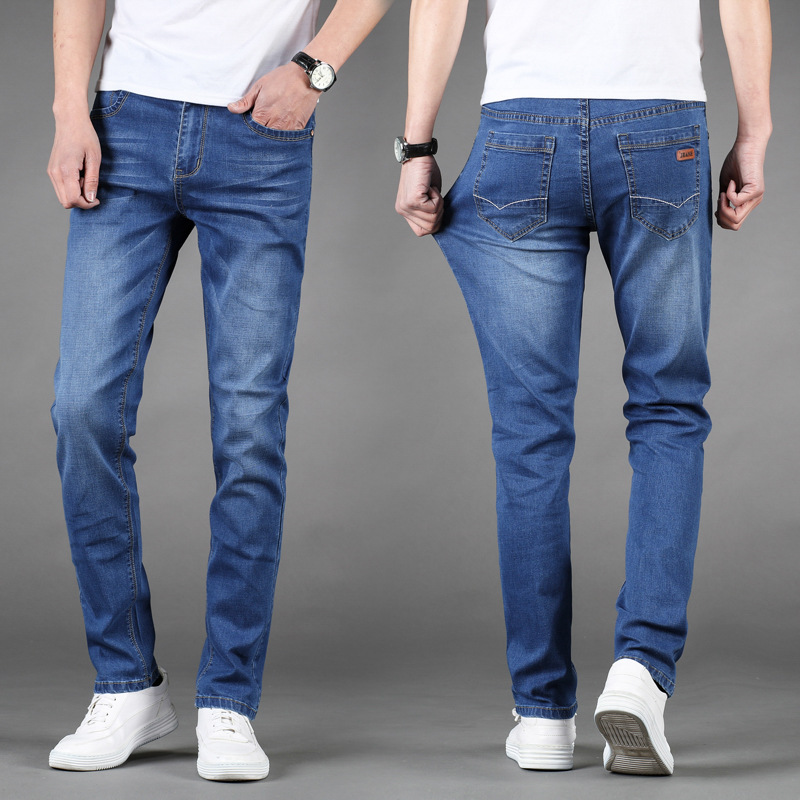 Summer Thin Section Elasticity Jeans Men Spring New Style Straight Slim Korean-style Youth Cowboy MEN'S Long Trousers Fashion