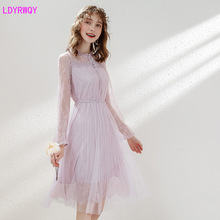 2019 autumn Japanese new super fairy lace embroidered pure cute womens  sleeves temperament ladies pleated dress